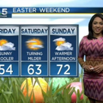 #Easter Weekend Forecast: Mid 50s today - 60s Saturday then 70s #EasterSunday VIDEO FORECAST: http://t.co/L8CESUEtNi http://t.co/6qFkGpcs1o