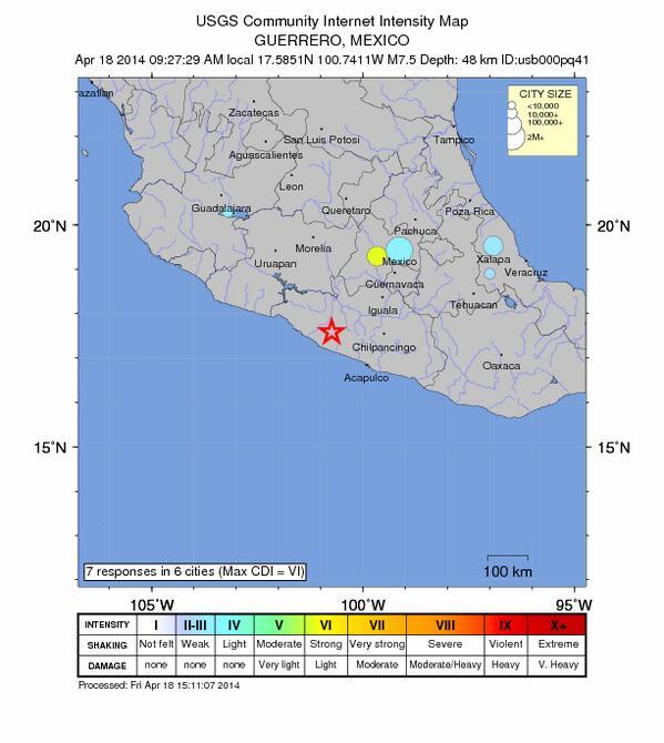 Según reportes recibidos en la #USGS, el fuerte #sismo se sintió en Gro, Oax, Pue, Ver, Mor, DF, Méx, Mich, Qro y Jal http://t.co/x89ynBLIUe
