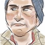 iPhone drawing of #NYC commuter eying someone on the subway. http://t.co/cwBmaZPuWY