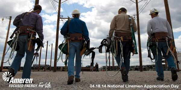 A tip of the hard hat to our linemen, who power the quality of life in Illinois and Missouri! #ThankaLineman http://t.co/1MJBWU78Hl