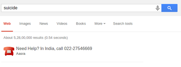 "A Google search for ""suicide"" will show you this. Good job Google - http://t.co/2593JWTgGT"