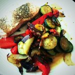 Baked salmon fillet with med veg...delicious Good Friday lunch :) @ramusforfish open today on Kings Road #Harrogate! http://t.co/7liYNJyGjj