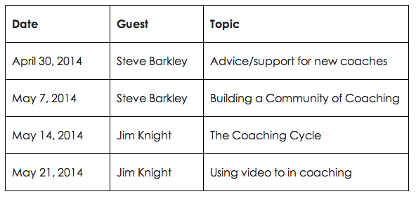 #educoach Announcement - Mark your Calendars! @jimknight99 & @stevebarkley will be joining us in Apr/May #iaedchat http://t.co/JTBkuzD4ld