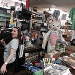 Like a virgin! On Good Friday with the Easter bunny @BeverlyRecords @WGNMorningNews @anabelaval #recordstoreday2014 http://t.co/Ikyv7Hmg2K