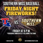 RT @SouthernMiss: Today's the day! Eagle Fest kicks off tonight with @somissbaseball vs. LA Tech. Dont miss the fireworks tonight! http://t.co/J1k1zmhfC3