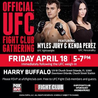 After the weigh-ins here in Orlando, @KendaPerez & I will be at @HarryBuffaloFL 5-7pm! Stop by! @ufc @ufcfightclub http://t.co/lYqlssZXv2
