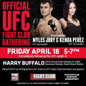 Head over to Harry Buffalo now for our #UFCFightClub party w/ @FuryJury & @KendaPerez! See you there! http://t.co/ufStMCKvYR