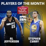 Al Jefferson of the @Bobcats & @StephenCurry30 of the @Warriors named @Kia NBA Players of the Month for April. http://t.co/1spVTGizoq