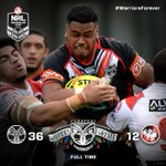 RT @NZWarriors: NYC FULL TIME | Vodafone Junior Warriors 36 Junior Dragons 12 at @JubileeOval #WarriorsForever #NYCsgiwaraf http://t.co/6iPpDI3mbD
