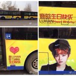 12 LUHAN fan sites spent 120 thousand RMB for the birthday ads on bus 420 in Beijing. Cr: sonhyo http://t.co/rT0ftUuqep