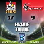 Investec Super Rugby Half Time: Chiefs 17 Crusaders 9 #CHIvCRU #SuperRugby http://t.co/XgNLTFzwln
