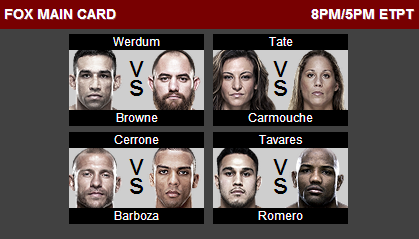 Switch to FOX for the #UFCFightNight: Werdum vs Browne Main Card NOW! Who you got, Fight Club? http://t.co/9chEBsYTgs