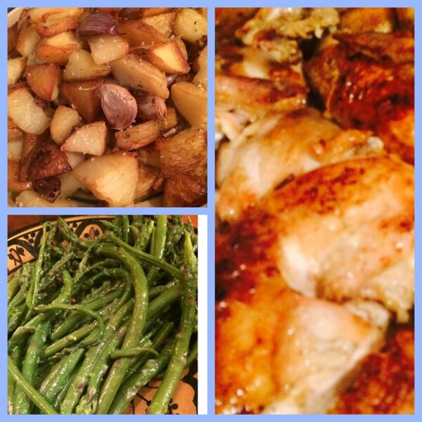 Dinner is served: potatoes with garlic, lemony roast chicken; buttery asparagus http://t.co/opsOuPWPfP
