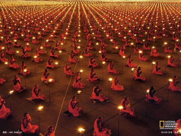A pic of 100,000 monks praying in the World's Largest Buddhist Temple. http://t.co/g1J93jL6R1