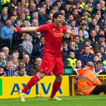 RT @LFC: PHOTO: @luis16suarez celebrates handing #LFC a 2-0 advantage at Carrow Road http://t.co/637OQQ8fiK