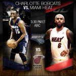 RT @NBA: The defending champs tip off their quest for a three-peat, 3:30pm/et on ABC. #HEATvBOBCATS #NBAPlayoffs http://t.co/WXeeAiODTs