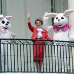 Not mildly. RT @mental_floss: Happy Easter from Nancy Reagan and two mildly terrifying Easter Bunnies. http://t.co/suqssUjFT6