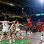 RT @ESPN_Numbers: 28 yrs ago today, Michael Jordan scored 63 Pts vs Celtics. Thats an NBA RECORD for most Pts scored in the playoffs. http://t.co/L99jtRExjS