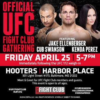 Get ready for #UFC172! Another wknd of epic events! Like our FC party w/ @EllenbergerMMA @CubSwanson & @KendaPerez! http://t.co/os3XBP2XlB