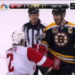 Big smile for Zdeno Chara as Brendan Smith flails away at long arms length RT @dafoomie http://t.co/b0a0elvJBZ