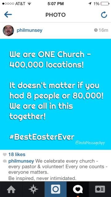 1 church - 400,000 locations! We're THE CHURCH! We celebrate every pastor. Be inspired - never intimidated! http://t.co/9RnNiEkzUZ