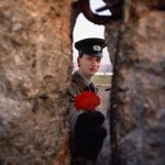 An East German guard passes a flower through a gap in the Berlin wall on the morning it was torn down. November, 1989 http://t.co/RGfa51Xvlf