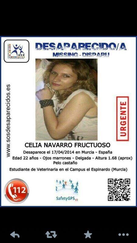 ÚLTIMA HORA. Servicio Público. Celia Navarro Fructuoso lleva desaparecida dsd hace 4 días de Murcia http://t.co/tySupjGtMk
