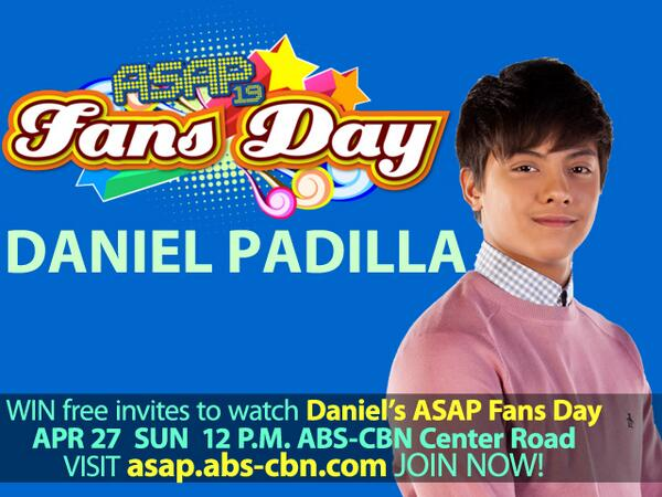 ASAP ABS-CBN (@ASAPOFFICIAL): WIN free invites to watch @imdanielpadilla's #ASAPFansDay this SUN! Click link join promo now- http://t.co/FJxv07Gd5D http://t.co/rMvvlpbmIj