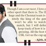 #Thala #Ajith knows a thing or two about sports.. Of-course, he supports #CSK in #IPL and wishes them.. #ThalaforCSK http://t.co/uUqmi86c7n
