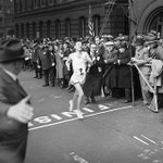Today (4/21) all BPL locations are closed for #PatriotsDay. Here's John Kelley winning the 1935 #BostonMarathon. http://t.co/tVejd0aFr0