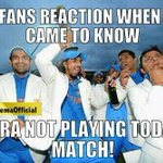 RT @arvinfido: That awesome moment when we hear Nehra isnt playing today :-D #CSKvsDD http://t.co/N60HHsLpcC