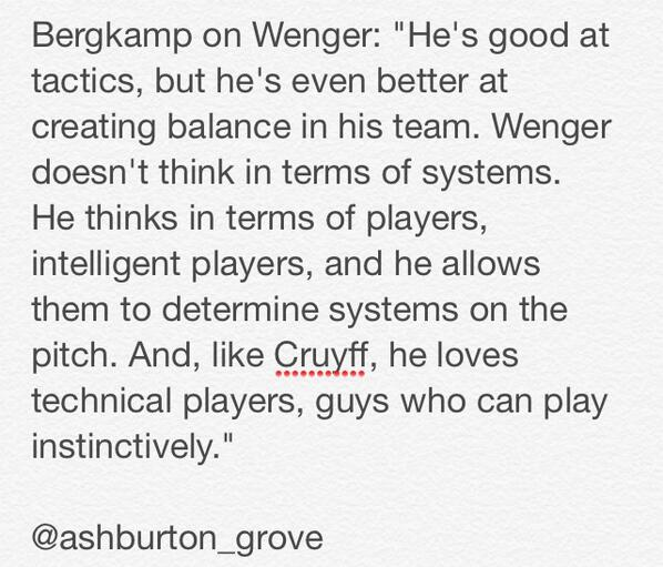 Reading the Dennis Bergkamp book. This quote on Arsene Wenger and tactics stood out. http://t.co/5wIGOvWUGs