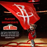 Its a @papajohns Playoff Wednesday. Use promo code ROCKETS for 50% off your pizza order every Wed. the Rockets play. http://t.co/crLPBV0Rh3