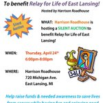 RT @ELRelay: TODAY! Public Silent Auction 6-8p @harrisonroadie Bid & Win #EastLansing #MSU #LoveLansing #FightCancer #PureMichigan http://t.co/Mk2bPsl0tS
