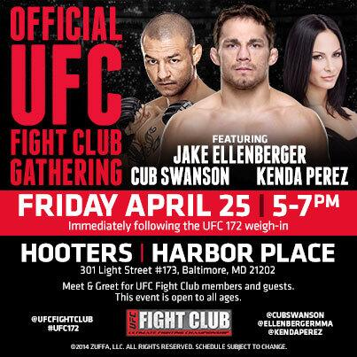 Who's excited for our Fight Club Gathering for #UFC172 w/ @EllenbergerMMA @CubSwanson & @KendaPerez? Is it Fri yet? http://t.co/z0bQpT2ARd
