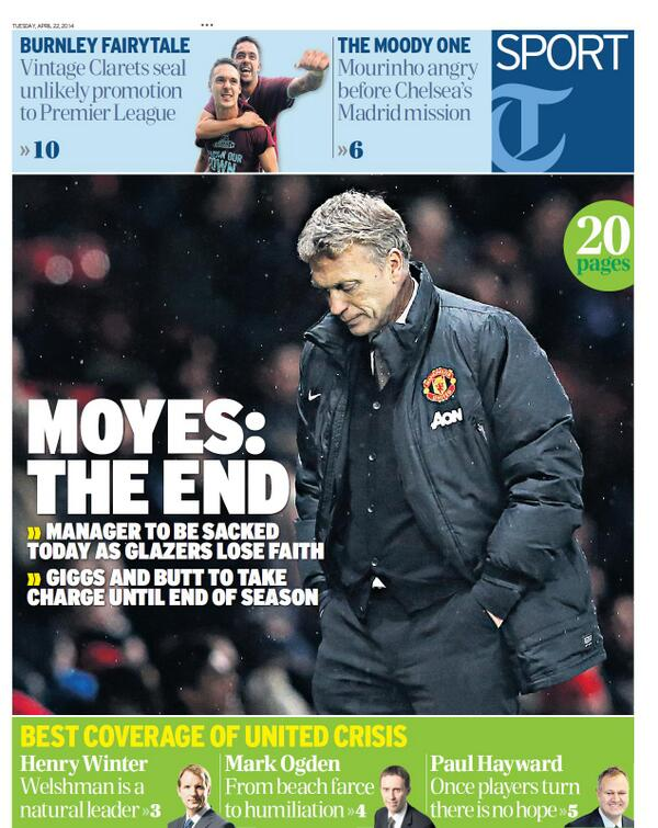 BlxkqYjCUAA2wdO David Moyes to be sacked on Tuesday, £5m pay off, van Gaal next in line [All the back & front pages]