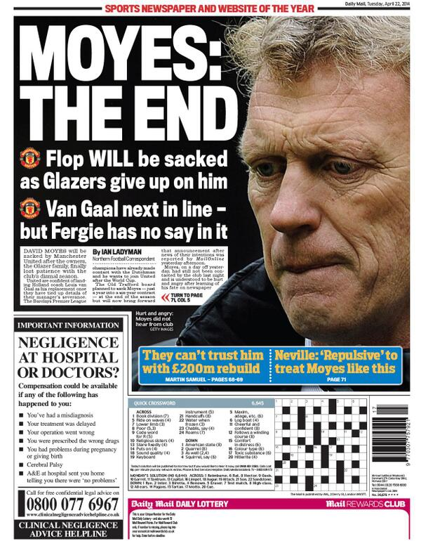 BlxlihXIMAAL6L7 David Moyes to be sacked on Tuesday, £5m pay off, van Gaal next in line [All the back & front pages]