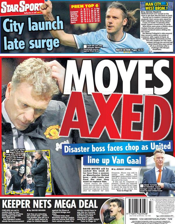 Blxoj44CMAAJJWh David Moyes to be sacked on Tuesday, £5m pay off, van Gaal next in line [All the back & front pages]