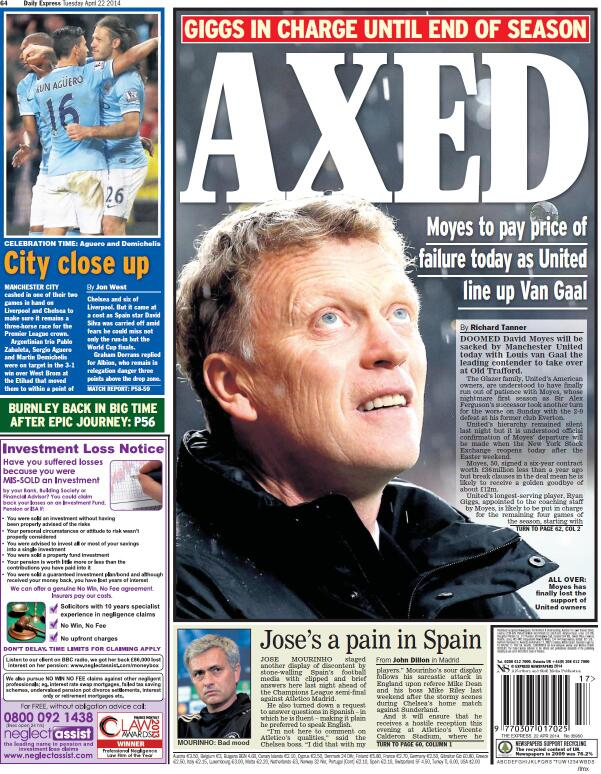 BlxpBpOCAAAJSfA David Moyes to be sacked on Tuesday, £5m pay off, van Gaal next in line [All the back & front pages]
