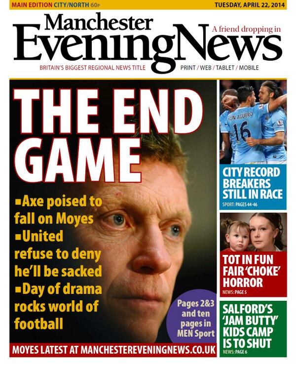 BlxqSi IIAA2Q60 David Moyes to be sacked on Tuesday, £5m pay off, van Gaal next in line [All the back & front pages]