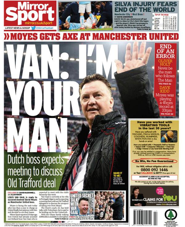Blxr79SCcAE4saH David Moyes to be sacked on Tuesday, £5m pay off, van Gaal next in line [All the back & front pages]