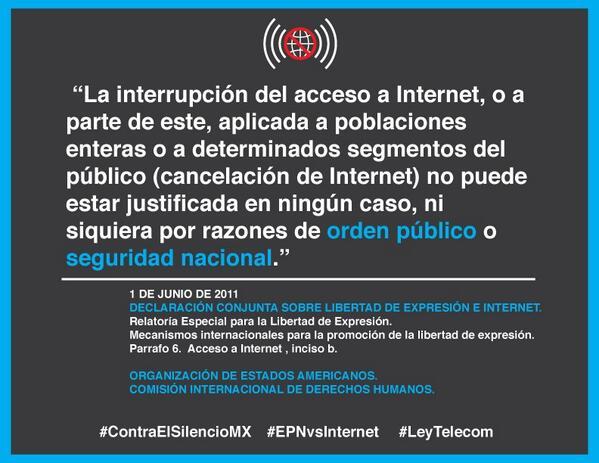 No pueden privar por razones de orden público o seguridad nacional el internet. #ContraElSilencioMX #EPNvsInternet http://t.co/8gbjZPnzCE