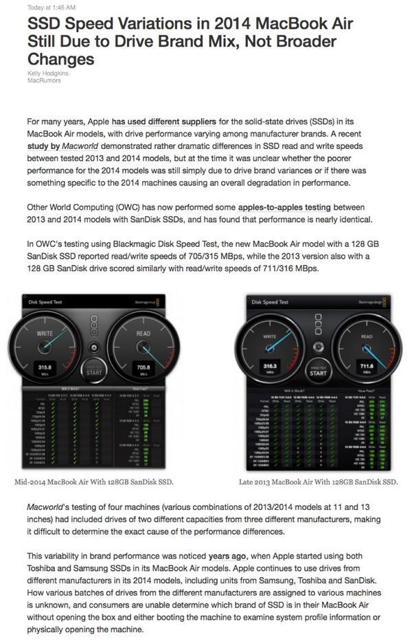 不要被所谓 2014 MBA SSD 性能下降谣言误导,那个测试样本有问题。OWC 又做了一次,差异可以忽略不计。所以各位,拿着 SanDisk 去拼 Samsung 是不地道不负责的评测,http://t.co/to7NpUe46E http://t.co/NpaCnqot5S