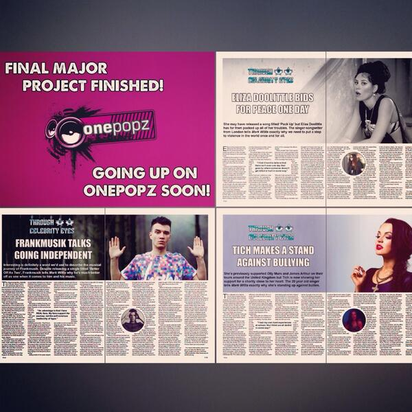 Interviewed @thefrankmusik, @elizadoolittle & @iamtich for my major project