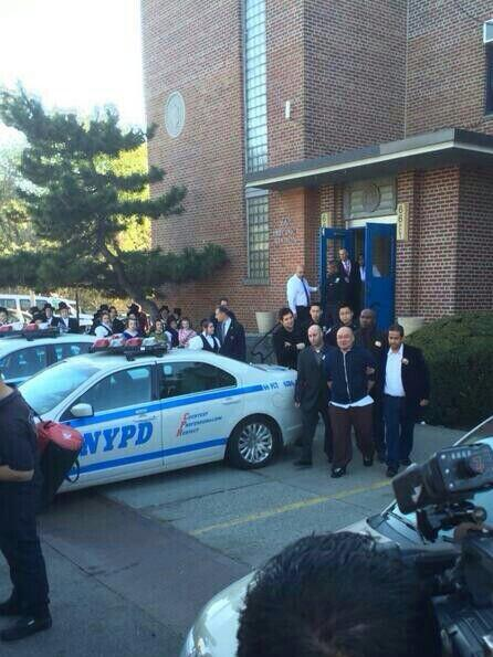 Brooklyn update: the former NYPD cop is being taking out of the 66pct he's being charged with 57 counts. http://t.co/flWV8eFv4b