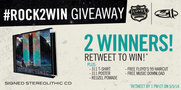 RETWEET to win a signed @311 album & 5 other sweet prizes #Rock2Win #Stereolithic http://t.co/T28CsbppeB