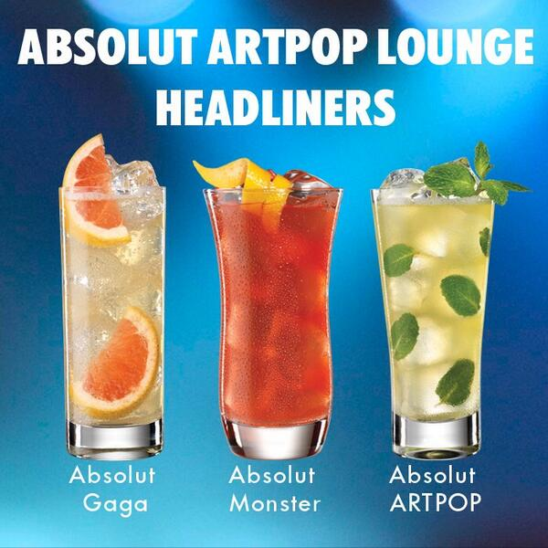 We're kicking things off tonight w/ our exclusive #AbsolutGaga cocktails straight from the Absolut ARTPOP Lounge! http://t.co/dGOBKhVUQs