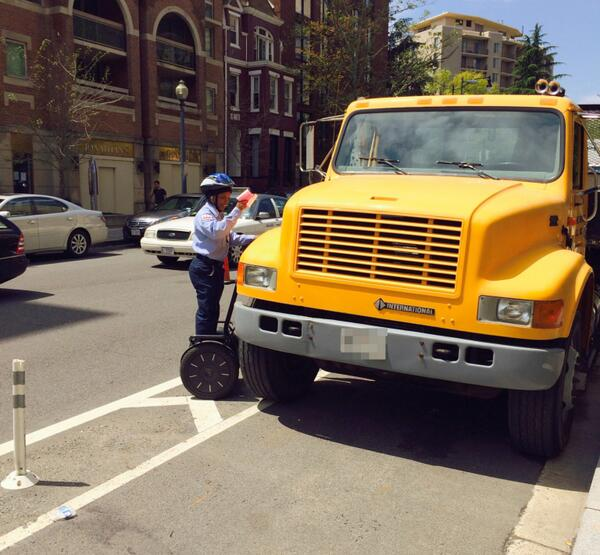 L Street NW - We're rolling…trying to catch them #parkingdirty. Again: Please, please don't park in our bike lanes. http://t.co/hHzRMasaEe