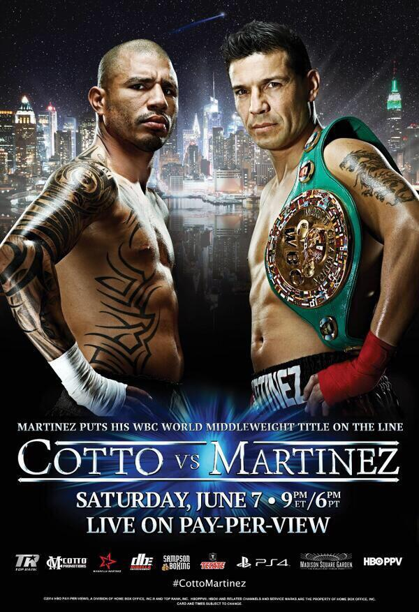 Cotto vs. @maravillabox poster. Looks great. @TheGarden @trboxing @RealMiguelCotto @HBOboxing #martinezcotto http://t.co/KYDpxHLHZ9