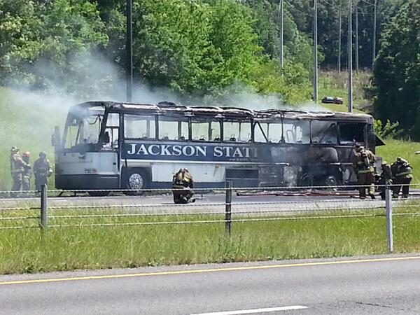 BREAKING NEWS: Jackson State Bus catches fire, 15 minutes west of Birmingham. Our sister station will update soon http://t.co/esg5xc8ycL